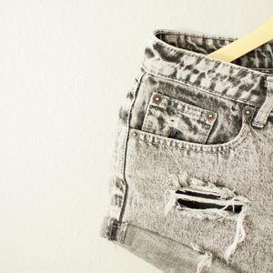 Cotton On Mid Rise Black Acid Wash Shorts